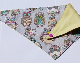 colorful owls dog bandana/ reversible/ snap-one