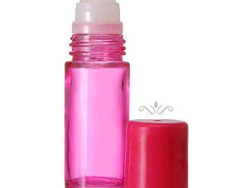 144 Pink Glass Roll On Bottles - 30 ML