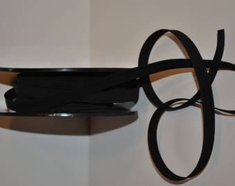 elastic ribbed flat 10mm / 1 cm black by the yard