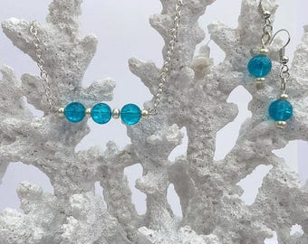 Aqua blue glass, Crackled bead jewelry, mermaid, jewelry set, beaded bar necklace, watercolor earring, under 25 dollars, watercolor necklace
