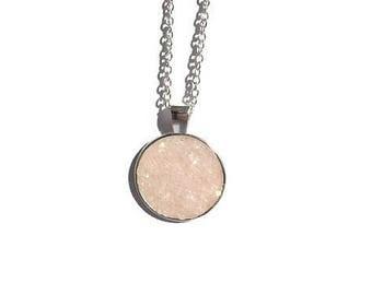 Druzy pendant necklace, pink druzy, druzy necklace, druzy jewelry, under 20 dollars, geode jewelry, glittery necklace, drusy pendant