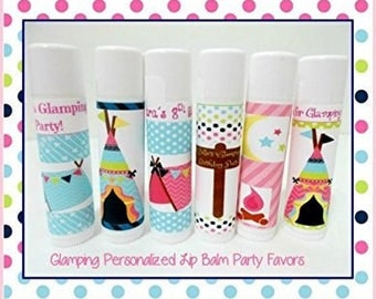 Glamping Lip Balm Party Favors - Glamping Personalized Lip Balm -  Girls Glamping Party Favors - Free Personalization - Set of 20