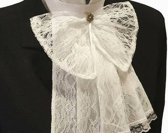 White Lace Jabot Cravat Collar With Big Lace Bow And Metal Button Steampunk Victorian Theatre Fancy Dress Regency Burlesque pk56