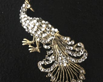 Antique gold crystal rooster pin brooch