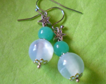 Light earring loop 2 beads on silver bracket