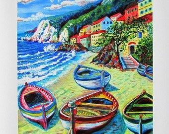 A4 Giclée Print entitled 'Life in Liguria' from an original acrylic painting by artist Martin Romanovsky