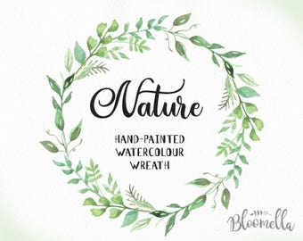 Watercolour Leaf Wreath Clipart - Nature Hand Painted Leaves INSTANT Download PNG & JPEG Green Foliage Wedding Digital Art Elegant Garland