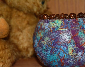 Multi-colored gourd bowl with beads