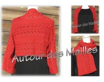 Heater shoulder 2 in 1 jacket or scarf red orange