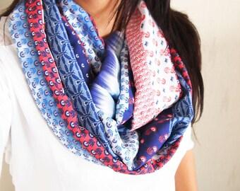 Snood collar double, midseason, ethnic, floral graphics, tie-dye