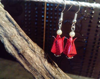 """Tulips"" red origami earrings"