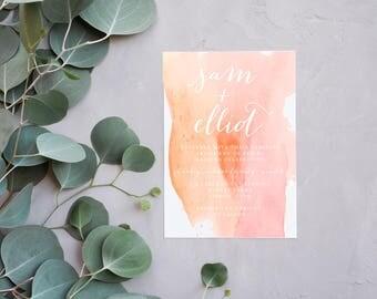 Watercolor Wedding Invitation | Simple Wedding Invitation