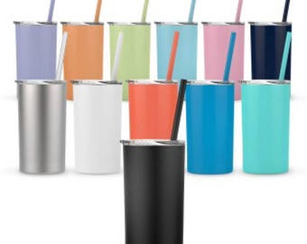 Skinny Mini 12 Oz Tumblers With Lid and Straw