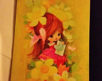 Vintage Greeting Card - Vintage Thank You For Your Gift Card * Little Girl Surrounded by Flowers - Unused Card