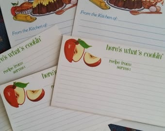 Vintage Recipe Cards Collection ~ 70s Current Apples and Apple Pie 5 Piece Set ~ Cooking Journals ~ Recipe Box