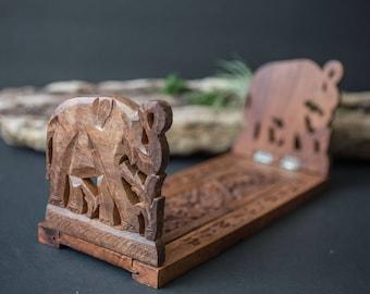 Elephant hand carved wood shelf / bookend