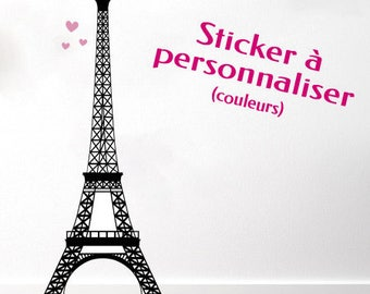 """Personalised wall sticker """"Eiffel Tower - Paris"""" - customizable colors and sizes - girl room decoration"""