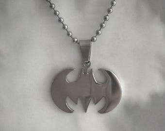 "Stainless Steel Batman Pendant on 24"" Steel Ball-Chain Necklace in Velvet Gift Pouch"