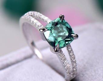 Color change Alexandrite engagement ring Split shank sterling silver manmade diamond white/rose/yellow gold plated aquamarine morganite..