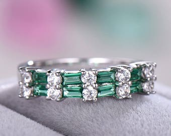 Green CZ Cubic Zirconia Wedding Band 925 Sterling Silver White Gold Baguette Cut Unique Engagement Ring Half Eternity Bridal Promise Gift
