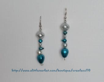 Earrings blue and White Pearl