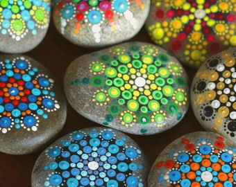 set of 3 hand painted zen stone