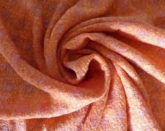 Fabric bright orange tweed made in France