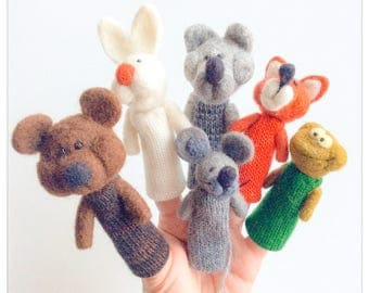 """Animals-finger puppets in felted wool (""""Cottage"""", """"Teremok"""" fairy tale)"""