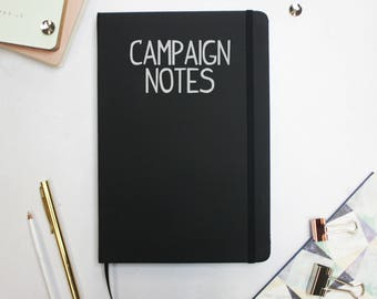 "Dungeons and Dragons ""Campaign Notes"" Notebook - Black Notebook - DnD Accessories - DM Notes D&D"