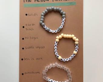 Mellow Minimalist Gift Set, Set of 3, Bracelets, Bead Bracelets, Handmade, Activist Support