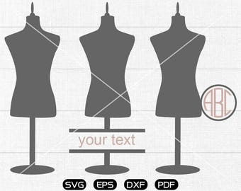 Seamstress Mannequin Svg, Seamstress Mannequin Clipart, Monogram Frame cricut, cameo, silhouette cut files commercial & personal use