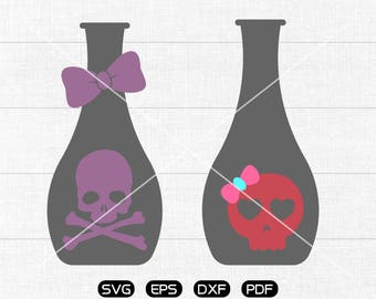 Skull Bottle SVG File, Bow Skull Bottle Clipart, cricut, cameo, silhouette cut files commercial & personal use