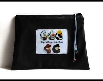 Black faux tea Village cootie catcher makeup case pouch