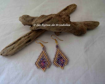 """""""Twigs"""" pink, purple and gold earrings"""