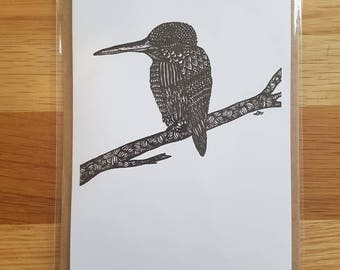 Kingfisher Zentangle A6 Card with Envelope