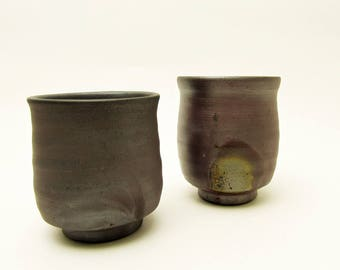 Wood Fired pottery.Bizen-ware.Pair Yunomi/Tea cups.Japanese Pottery.stoneware.Made by Bizentouen pottery.#ynm38