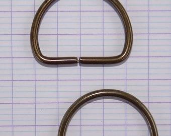 x 2 boucle demi anneau bronze, bronze 27 x 22 mm