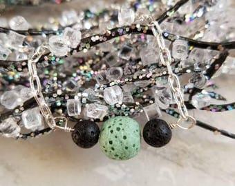 Delicate Silver Lava Diffuser Bracelet with Mint Green Lava Stone