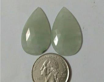 Jade Aqua colour Rose cut slice Pair/Pear rose cut slice pair/Cabochon Slice/natural Jade Green /Cabochon rose cut/Earring slice pair/loose