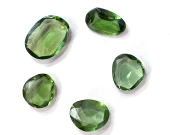 Apatite Natural Green Apatite Rose Cut Polki Both Side Faceted 9.75 Cts. 5 Pieces For Designer Jewelry - 4014