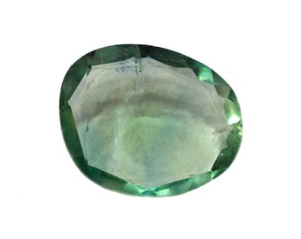 Fluorite Natural Green Fluorite Rose Cut Polki Both Side Faceted 10.20 cts 14.5x18 mm For Designer Jewelry 3920