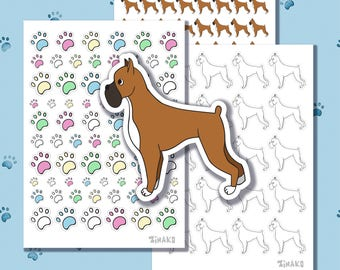 Set of cute stickers with cartoon dogs, breed boxer. And colourfull paws.