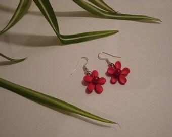 Earrings dangle red flower