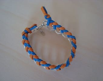 Small orange and blue chain bracelet double ring