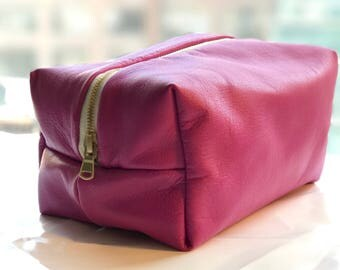 Juicy Fruit - Hot Pink Leather Stash Bag