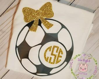Glittered Soccer Monogram Shirt/Glittered Personalized shirt/Girlie Shirt/Kids Glitter Girl Shirt/Girl Birthday Shirt/Cute Sports Shirt