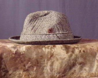 Vintage 1970s Hat - Mens Donegal Tweed Trilby Hat - Tweed