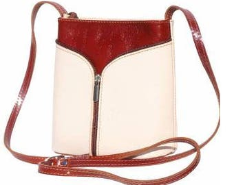 Italian made soft leather cross body handbag.