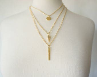 Triple Layer Spike Pendant Necklace