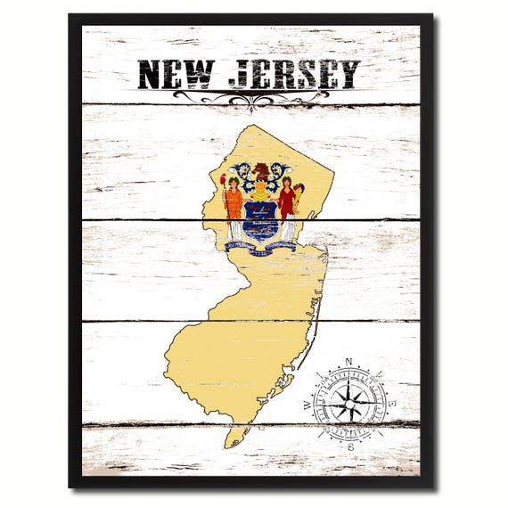 New Jersey State Vintage Flag Gifts Home Decor Wall Art